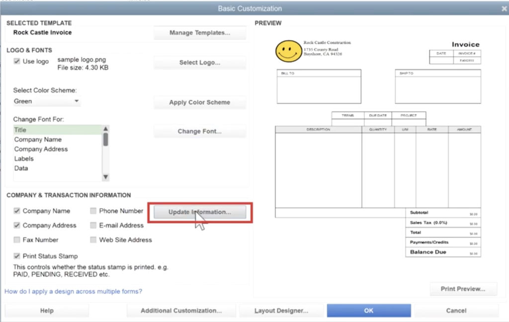 Quickbooks Invoice Template Update Company Information