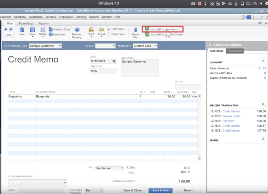 Tell quickbooks how to handle the credit memo
