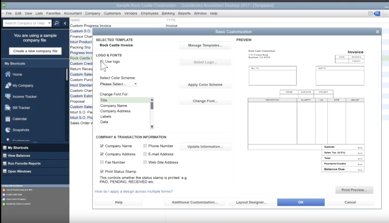 QuickBooks Basic Customization